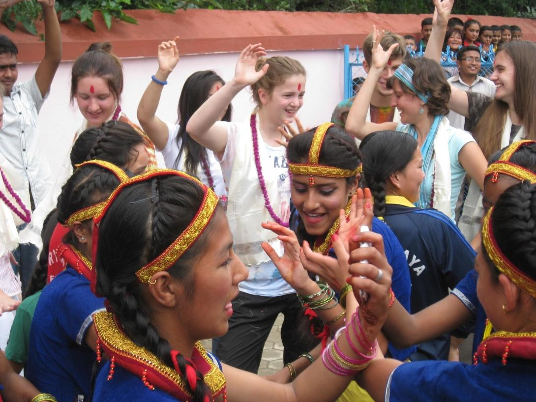 High School Special volunteers celebrate on the last day of their placement in Nepal, Asia.